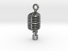 Classic Microphone Pendant in Natural Silver