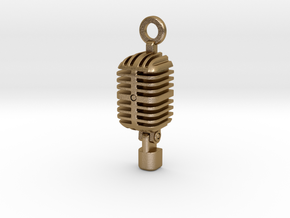 Classic Microphone Pendant in Polished Gold Steel