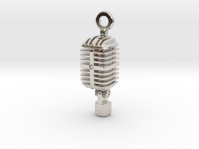 Classic Microphone Pendant in Rhodium Plated Brass