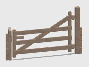 Wood Gate - L-Out Swing - Barbed Wire in Smooth Fine Detail Plastic: 1:87 - HO