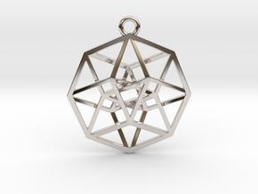 4D Hypercube (Tesseract) small in Platinum