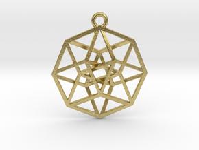 4D Hypercube (Tesseract) small in Natural Brass
