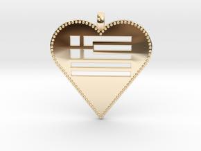 Greek Flag Heart Pendant / Ελληνική σημαία Καρδιά  in 14K Yellow Gold