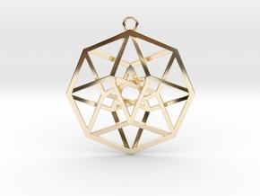4D Hypercube (Tesseract) in 14K Yellow Gold