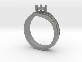 Elegant ring with curved halo in Gray PA12