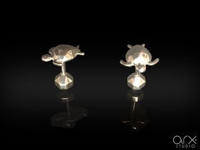 Tortuga Cufflinks in Polished Silver