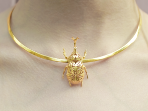 Scarab pendant in 14k Gold Plated Brass