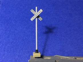 HO Cast Iron Crossbucks opposite mount w/ pointed  in Smoothest Fine Detail Plastic