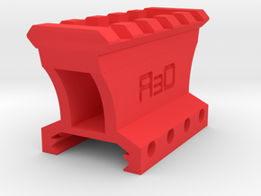 28mm High 4 to 5 Slots Picatinny Riser (Centered) in Red Processed Versatile Plastic