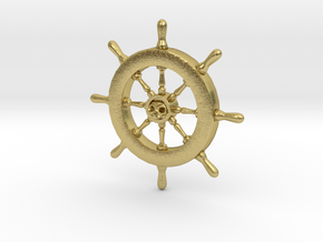 Pirate Ship Wheel Pendant in Natural Brass