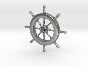 Pirate Ship Wheel Pendant in Natural Silver