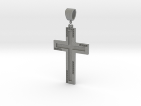 Cross with diamond in Gray PA12