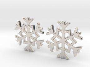 Snowflake earrings in Rhodium Plated Brass