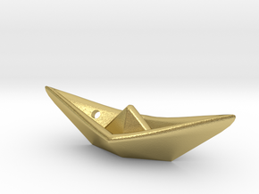Paper ship pendant in Natural Brass
