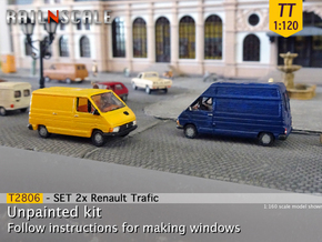 SET 2x Renault Trafic (TT 1:120) in Smooth Fine Detail Plastic