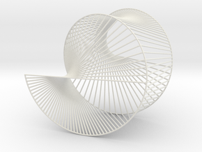 Cardioid Geometric 3D String Art V1 in White Natural Versatile Plastic