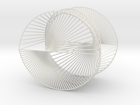 Half Inverted Cardioid Geometric 3D String Art V2 in White Natural Versatile Plastic