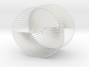 Half Inverted Cardioid Geometric 3D String Art V2 in White Natural Versatile Plastic