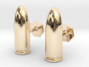 9mm Cartridge Cufflinks in 14k Gold Plated Brass