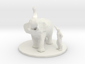 HO Scale Elephant trainer in White Natural Versatile Plastic