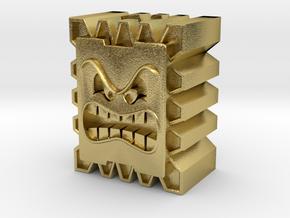 Thwomp Block Bead in Natural Brass