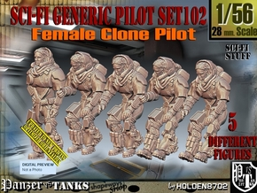 1/56 Sci-Fi Generic Female Pilot Set102 in Smooth Fine Detail Plastic