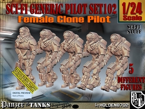 1/24 Sci-Fi Generic Female Pilot Set102 in White Natural Versatile Plastic