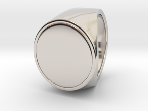Signe  -  Unique US 8 Small Band Signet Ring in Rhodium Plated Brass