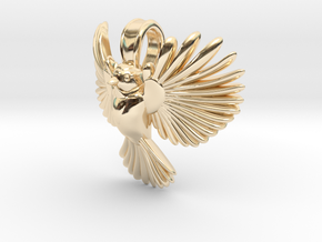 Chickadee pendant (inspired by blue tit) in 14K Yellow Gold
