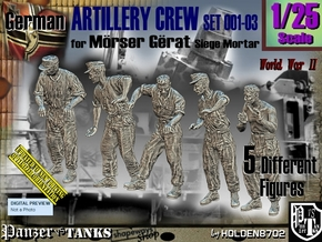 1/25 German Artillery Crew Set001-03 in White Natural Versatile Plastic
