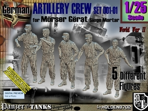 1/25 German Artillery Crew Set001-01 in White Natural Versatile Plastic