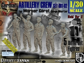 1/30 German Artillery Crew Set001-02 in White Natural Versatile Plastic