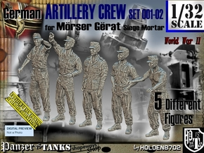 1/32 German Artillery Crew Set001-02 in White Natural Versatile Plastic