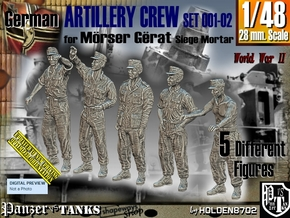 1/48 German Artillery Crew Set001-02 in Smooth Fine Detail Plastic