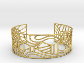 abstract cuff no. 12 slim version in Polished Brass