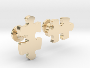 puzzle piece cufflinks in 14K Yellow Gold