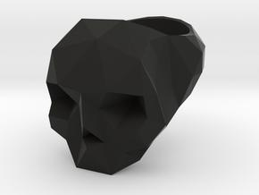 Low Poly Skull Ring in Black Natural Versatile Plastic