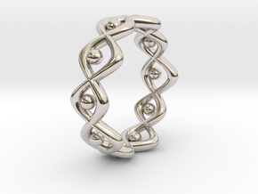 Woven Ring Size 7 in Rhodium Plated Brass