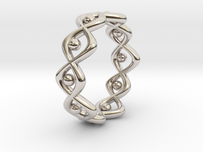 Woven Ring Size 12 in Rhodium Plated Brass