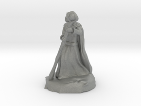 Dragonborn Sorcerer in Robes with Staff in Gray Professional Plastic