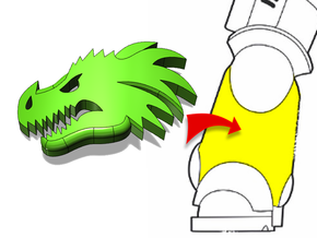 20x Dragon Head (Left): Small Bent Insignias in Smooth Fine Detail Plastic