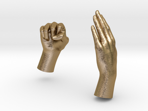 Two Hands in Polished Gold Steel