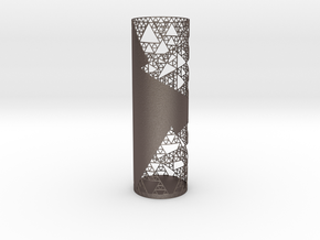 Sierpinski Decorative Vase in Polished Bronzed-Silver Steel