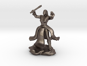 Water Genasi Druid with Wand of Magic Missile. in Polished Bronzed-Silver Steel