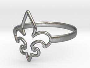 Fleur de Lille (Fleur-de-lis) Ring (variant 1) in Natural Silver