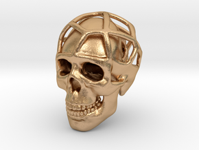 Double Skull Pendant in Natural Bronze