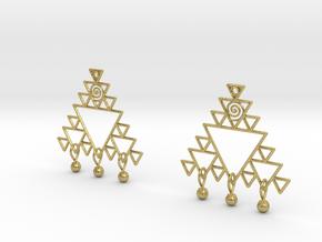 Fractal Earrings in Natural Brass (Interlocking Parts)