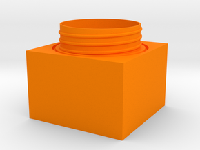 Cubic jar - bottom in Orange Processed Versatile Plastic