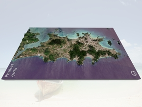 "Phuket (ภูเก็ต), Thailand Map: 8""x14"" in Matte Full Color Sandstone"