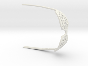 Wireframe Glasses for Dolls (4cm) in White Natural Versatile Plastic